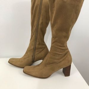 Candies knee high suede boots chunky heel size 7